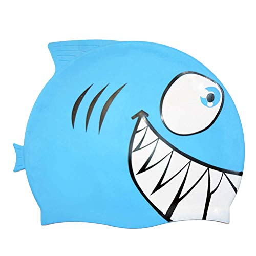Vosarea-Gorro-de-bao-para-nios-Gorro-de-bao-para-bebs-de-tiburn-y-pequeos-Peces-de-Silicona-tiburn-Azul-Cielo-0